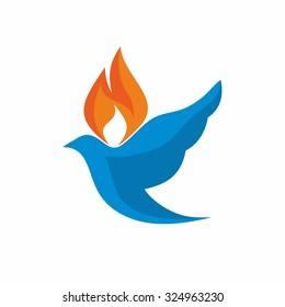 Church logo. Dove, Holy Spirit, flame