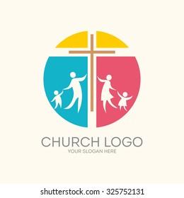 Church logo. Family, round, cross.
