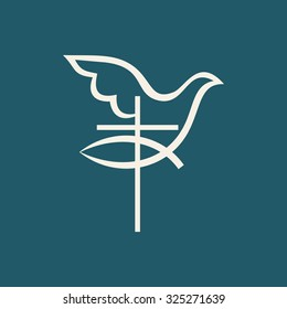 Church logo. Fish, Cross and dove holy spirit