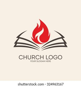 Church logo. Flame and open bible