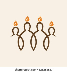 Church logo. Flames over people. Pentecost