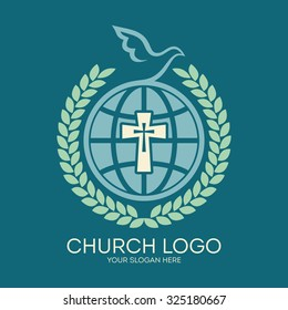 Church logo. Globe, cross, dove