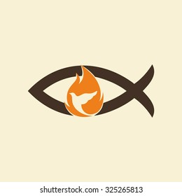 Church logo. Jesus fish, dove, flame, holy spirit, Jesus, Christian, symbol, icon