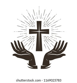 Church logo or label. Prayer, religion concept. Vintage vector illustration