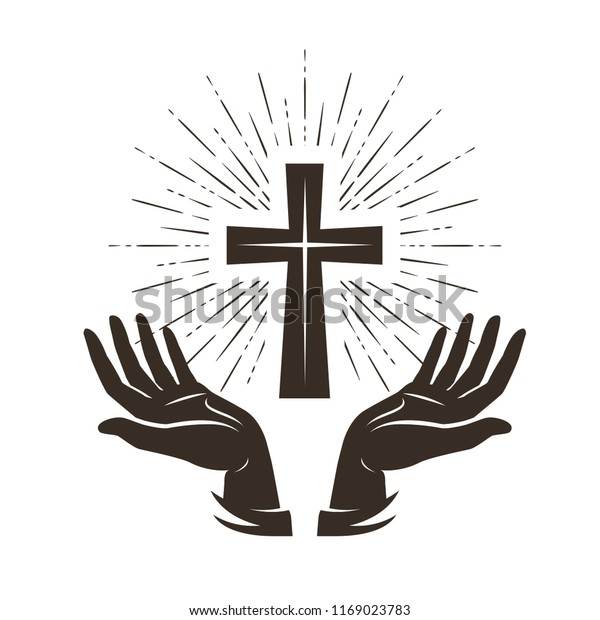 Church logo or label. Prayer, religion concept. Vintage vector illustration