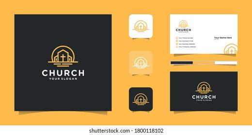 church logo line art and inspiration business card