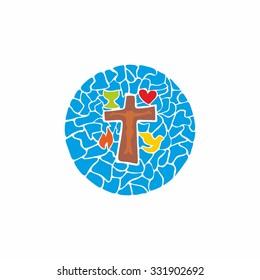 Church logo. Mosaic: symbols of Christianity