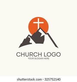 Church logo. Mountain, sun, cross.