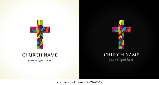 Church logo, old mosaic pattern. Religious vector christian symbol. Creative crucifix in color puzzles parts. Broken glass crucifixion sign, window in pieces. Isolated abstract graphic design template