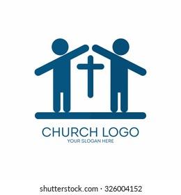 Church logo. People and cross, house, church.