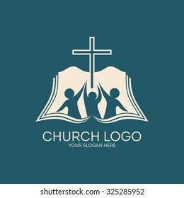 Church logo. People with raised hands to the cross, open bible.