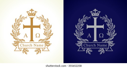 Church logotype. Luxury traditional isolated crucifixion template in circle. Crucifix framed in palms. Old vector round branches, ribbon sign with Greek ABC letters. God's Kingdom spiritual symbol.
