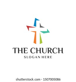 the Church minimalist logo design vector