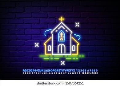 Church Neon Sign. wedding, celebration in Church, wedding neon sign. Vector Illustration of Religion Promotion.