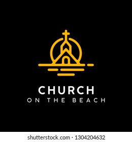 Church ont at the Sunset Beach Logo design with Mono Line Drawing style
