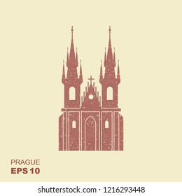 Church of Our Lady before Tyn - The symbol of Prague, Czech Republic. Flat icon with scuffed effect