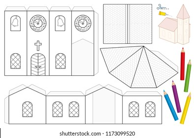 Nave images stock photos vectors shutterstock church paper craft sheet unpainted cut out template for children for coloring and making maxwellsz