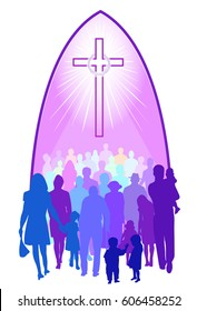 Church people of all ages and ethnicity in colorful silhouettes, gathering below a brightly shining cross with a crown of thorns, under an arch representing a church.