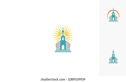 Church Praying Christian Catholic Logo