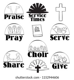 church religion icons pray serve praise share give bible