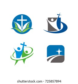 Church or religious logo design template vector