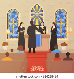 Church service communal worship christian traditions and religious ceremony flat poster with priest nuns and bible  vector illustration