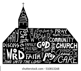 Church shape with word cloud typography style design, white hand written text on black church background with steeple isolated on white background, religious or inspirational symbol, Church vector