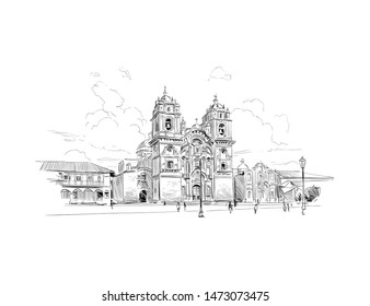 Church of the Society of Jesus. Plaza de Armas. Cuzco. Peru. Urban sketch. Hand drawn vector illustration