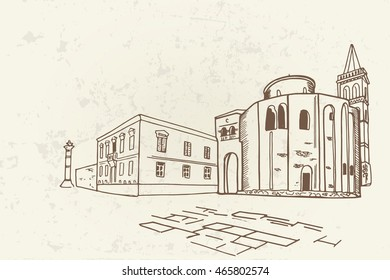 Church of St. Donat, Zadar, Croatia. Vector sketch.. Retro style.