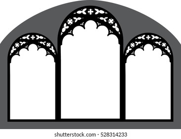 Church stained glass gothic window, vector illustration, graphic element design.