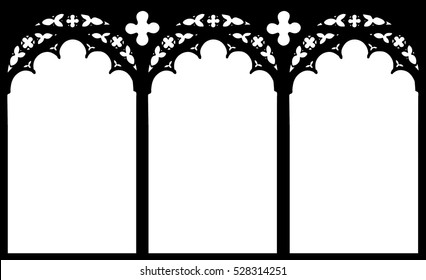 Church Stained Glass Gothic Window Vector Illustration Graphic Element Design