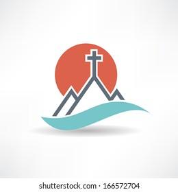 church sun abstract icon