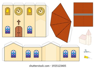 Church template, paper craft model. Cut-out sheet for making a simple 3d scale model church with colorful windows, belfry, tower clock and shingle roofs.