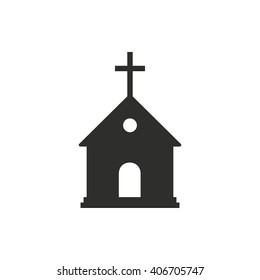 Church   vector icon. Black  illustration isolated on white  background for graphic and web design.