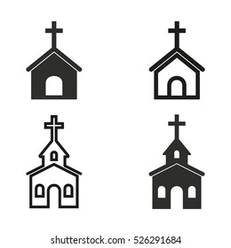 Church vector icons set. Illustration isolated for graphic and web design.