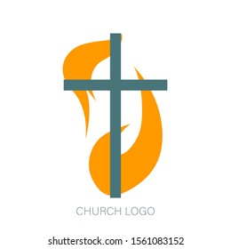Church vector logo. Christian symbol. The Cross of Jesus and the fire of the Holy Spirit on white background