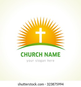 Church vector logo. Lighting crucifix, praying, Golgotha, shining cross. Abstract template of resurrection in yellow and green colors. Religious educational symbol.  Pentecost, Easter greetings.
