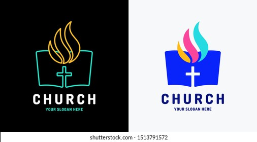 Church vector logo. The open bible and Holy Spirit fire flame.