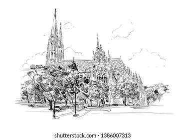 Church of the Vow. Rooseveltplatz. Vienna, Austria. Hand drawn sketch vector illustration.
