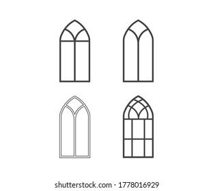 Church Window Symbol Icon Design. Gothic Window frames line icon set. Vector illustration.