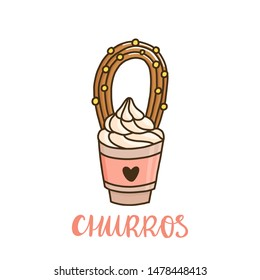 Churros with ice cream. Churros (or churro) is a traditional Spanish dessert. It can be used for menu, sign, banner, poster, etc.