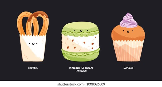 Churros, macaron ice cream sandwich and cupcake isolated vector illustrations