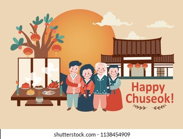 Chuseok celebration background with full moon, family reunion in Korean traditional costume and ancestor worship rite, illustration, vector