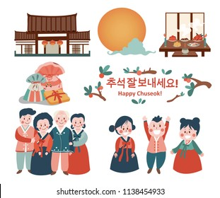 Chuseok celebration elements with family reunion in Korean  costume, money bag, full moon, persimmon, worship rite, Korean house, and greeting words meaning Happy Chuseok.