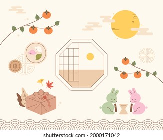 Chuseok greeting card with traditional Korean object design. flat design style minimal vector illustration.