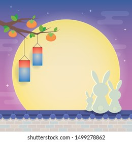 Chuseok or Hangawi - Korean Thanksgiving Day. Cute cartoon rabbit family on rooftop with full moon, persimmon trees, korea lanterns & starry sky background. (caption: korea harvest festival)