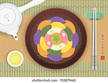 Chuseok or Hangawi - Korean Thanksgiving Day. Korean rice cake (songpyeon), chopsticks and teapot on bamboo mat. Top view of Korean items in flat vector style. (caption: chuseok ; 15th of august)