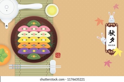 Chuseok template design. Songpyeon (korean rice cake), persimmon and teapot set on bamboo mat. Korean thanksgiving dessert in flat vector design. (caption: Korea thanksgiving day, 15th Aug)
