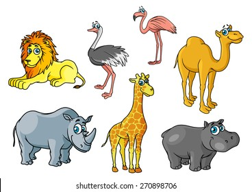 Chute cartoon african wild animals and birds characters including lion, giraffe, flamingo, hippo, camel, rhino, ostrich for savannah wildlife concept