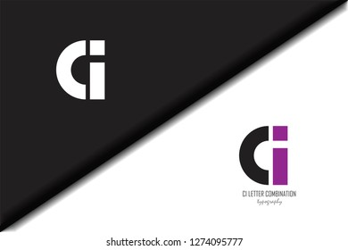 ci c i circle letter black purple white lowercase combination modern creative alphabet gradient company letter logo design vector icon template trendy - Vector